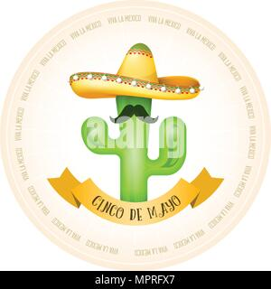 Mexican poster - cactus with moustache in sombrero - Stock Photo