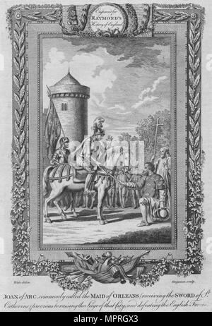 'Joan of Arc commonly called the Maid of Orleans (receiving the Sword of St. Catherine)', c1787. Artist: Unknown. - Stock Photo