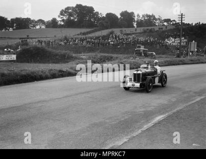 MG C type Midget of Cyril Paul competing in the RAC TT Race, Ards Circuit, Belfast, 1932. Artist: Bill Brunell. - Stock Photo