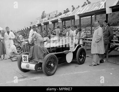 MG C type Midget of Cyril Paul in the pits at the RAC TT Race, Ards Circuit, Belfast, 1932. Artist: Bill Brunell. - Stock Photo