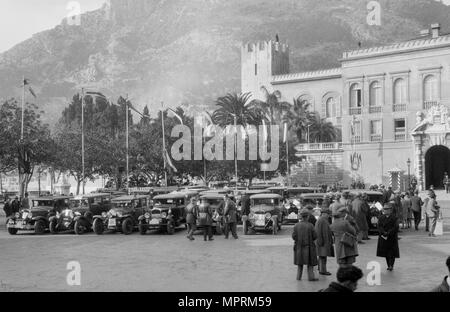 Cars at the Monte Carlo Rally, Monaco, 1929. Artist: Bill Brunell. - Stock Photo