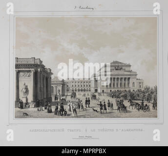 The Alexandrinsky Theatre in Saint Petersburg, 1840s. - Stock Photo