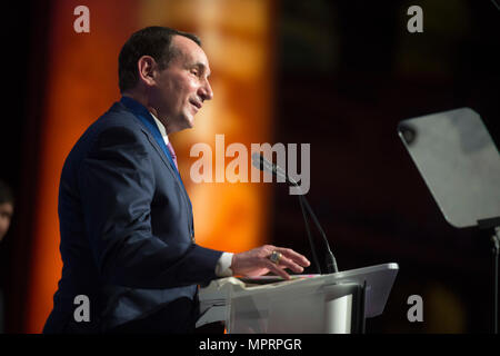 Mike Krzyzewski, head men's basketball coach at Duke University and USA Basketball, delivers remarks during the Tragedy Assistance Program for Survivors (TAPS) 2017 Honor Guard Gala in Washington, D.C., April 12, 2017. Gen. Dunford served as the event's keynote speaker where he spoke about the importance of the TAPS organization. During the event, the National Basketball Association and USA Basketball were awarded the inaugural National Community Partnership Award, presented for the support they have shown for the Nation's military families and personal engagement with the surviving families o - Stock Photo