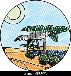 doodle desert palm tree with island landscape - Stock Photo