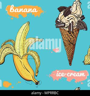 Colorful retro style cookie ice cream cone and banana seamless pattern. Hand-drawn delicious summer design. Turquoise, yellow, pink, chocolate. Cafe decoration, textile print. - Stock Photo
