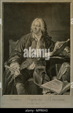 Portrait of the dramatist Jean-Baptiste Rousseau (1671-1741). - Stock Photo