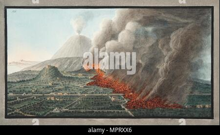 View of an eruption of Monte Vesuvius on 23rd December 1760 and ended 5th January 1761, 1776. - Stock Photo