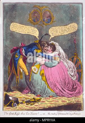 The First Kiss this Ten Years! Or the meeting of Britannia & Citizen Francois,  1803. - Stock Photo