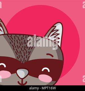 Raccoon cute animal cartoon - Stock Photo