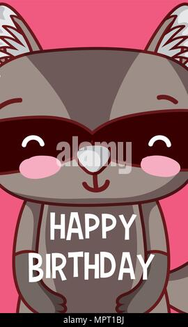 Raccoon happy birthday card - Stock Photo