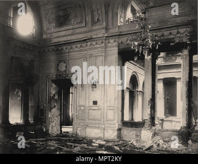 Dining room of the Winter Palace after the explosion, evening of February 17, 1880, 1880. - Stock Photo