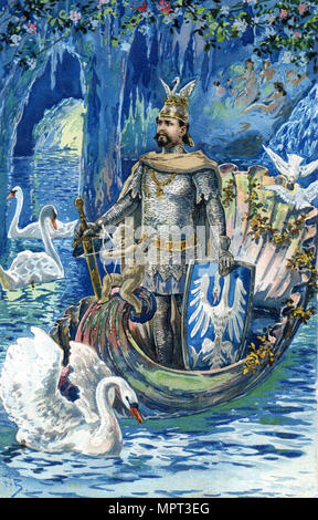 King Ludwig II as Lohengrin in the Blue Grotto of Linderhof Palace, c. 1900. - Stock Photo