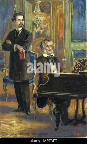 Richard Wagner and King Ludwig II, c. 1900. - Stock Photo