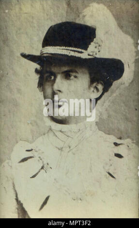 Portrait of Ludwig II of Bavaria (1845-1886) with a hat. - Stock Photo