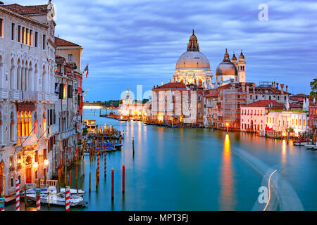 Grand canal at night in Venice, Italy - Stock Photo