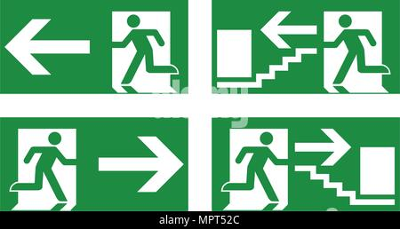 Emergency exit safety sign. White running man icon on green background - left, right and stairs version. - Stock Photo