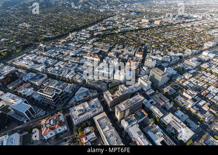 Aerial view of Wilshire Bl and Rodeo Dr business district in downtown Beverly Hills near West Hollywood and Los Angeles, California. - Stock Photo