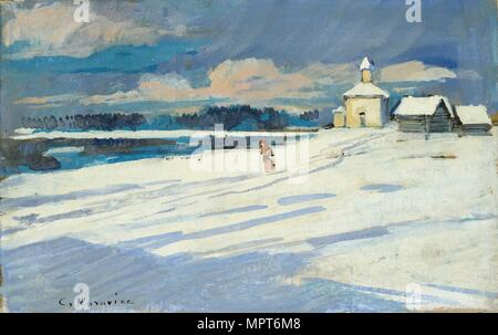 Winter Landscape with a small Church, early 20th century. Artist: Konstantin Korovin. - Stock Photo