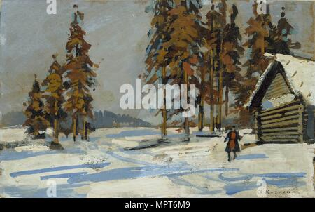 Winter Landscape, early 20th century. Artist: Konstantin Korovin. - Stock Photo