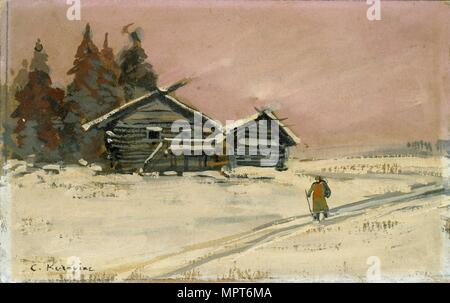 Winter Landscape with two wooden Huts, early 20th century. Artist: Konstantin Korovin. - Stock Photo