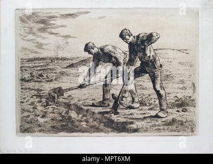 The Diggers, 1855-1856. Artist: Jean Francois Millet. - Stock Photo