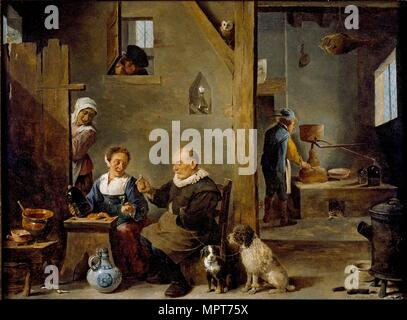 A Distillery with an elderly Man buying Gin from a Woman, c1640-1649. Artist: David Teniers II. - Stock Photo