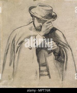 Dante Gabriel Rossetti, c1860s. Artist: Charles Samuel Keene. - Stock Photo