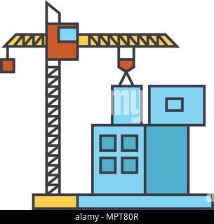 Construction crane building line icon, vector illustration. Construction crane building flat concept sign. - Stock Photo