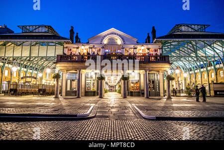The Piazza at Night Covent Garden West End London UK - Stock Photo