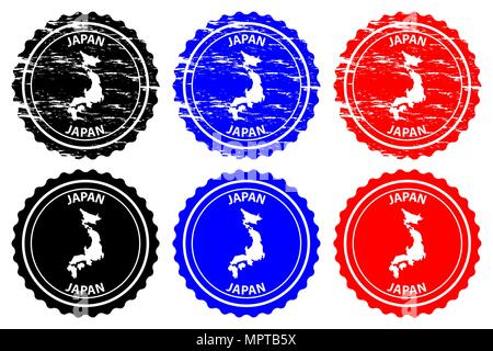 Japan - rubber stamp - vector, Japan map pattern - sticker - black, blue and red - Stock Photo