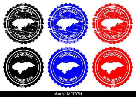 Honduras - rubber stamp - vector, Republic of Honduras map pattern - sticker - black, blue and red - Stock Photo