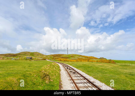 Great Orme Tramway track, Britain's only cable-hauled public road tramway in Great Orme Country Park & Nature Reserve, Llandudno, North Wales, UK. - Stock Photo