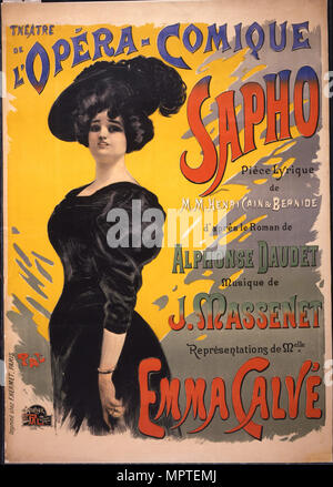 Emma Calvé as Fanny Legrand. Poster for the premiere of opéra-comique Sapho by Massenet performed on - Stock Photo