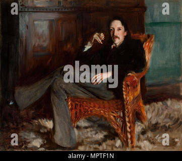 Portrait of Robert Louis Stevenson (1850-1894), 1887. - Stock Photo