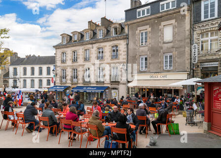 Cafe in the old town, Place des Lices, Vannes, Brittany, France - Stock Photo