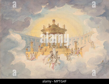 Stage design for the opera Faust by Ch. Gounod, c. 1870. - Stock Photo