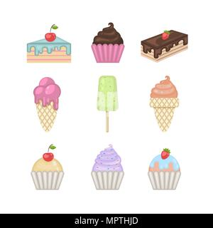 Sweets set.Vector ice cream,cupcake,cake,pie cartoon collection in flat style isolated on a white background.Food sign.Testy food.Vector muffin.Bakery - Stock Photo