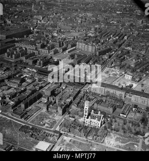Church of St George in the East, Stepney, London, 1960. Artist: Aerofilms. - Stock Photo