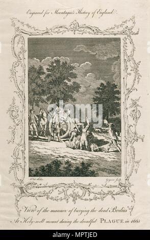 Burying plague victims, Holywell Mount, Shoreditch, London, 1665 (c late 18th century). Artist: Grignion. - Stock Photo