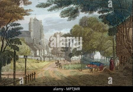 Entrance to Hastings, East Sussex, from Old London Road, showing All Saints' Church, c1790. Artist: Anon. - Stock Photo