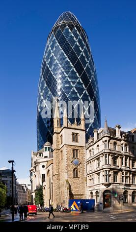 Church of St Andrew Undershaft and the Gherkin, City of London, 2012. Artist: James O Davies. - Stock Photo