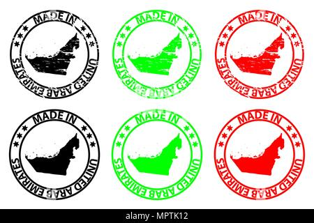 Made in United Arab Emirates - rubber stamp - vector, United Arab Emirates (UAE) map pattern - black, green and red - Stock Photo
