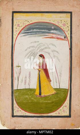 A lady in a sparse landscape, holding a flower and cup, early 19th century. Artist: Unknown. - Stock Photo