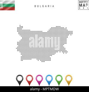 Vector Dotted Map of Bulgaria. Simple Silhouette of Bulgaria. National Flag of Bulgaria. Set of Multicolored Map Markers - Stock Photo