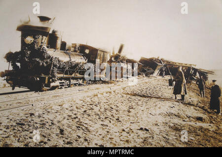 The Borki train disaster on October 29, 1888. - Stock Photo