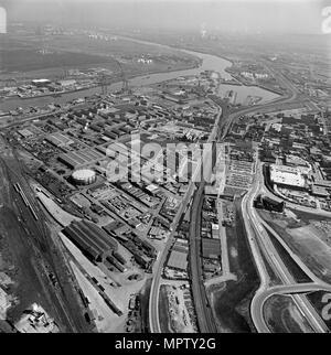 Middlesbrough Docks and environs, Teesside, 1981. Artist: Aerofilms. - Stock Photo