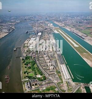 King George V Dock, Newham, London, 1989. Artist: Aerofilms. - Stock Photo