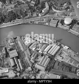 The SS 'Great Britain' in Great Western Dry Dock, Bristol, 1973. Artist: Aerofilms. - Stock Photo