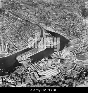 The Dock, New Cut and the town, Ipswich, Suffolk, 1950. Artist: Aerofilms. - Stock Photo