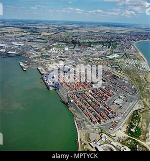 The Port of Felixstowe, Suffolk, 1997. Artist: Aerofilms. - Stock Photo